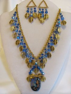 Blue and gold Dichroic Glass Statement Necklace by PreciousPoochie, $120.00
