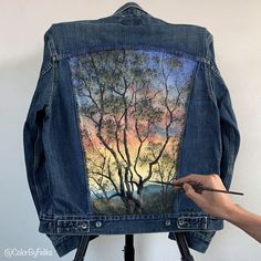 :D Tuscany, Italy Inspired Time-LapseYou can find Tuscany and more on our website. :D Tuscany, Italy Inspired Time-Lapse Painted Denim Jacket, Painted Jeans, Painted Clothes, Denim Kunst, Diy Kleidung, Diy Clothes Videos, Clothing Hacks, Art Clothing, Fabric Painting
