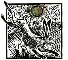 Leaping Hare, linocuts by Celia Hart.