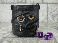 Dice Bag Steampunk With Face RPG Drawstring Fairy Pouch Marble Bag Rune Gamer Black Leather