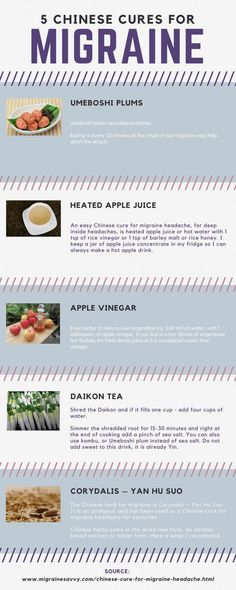 Natural Headache Remedies Get 5 simple recipes that Chinese medicine uses as a cure for migraine headache. Food is medicine and much less destructive on the body if it works for you. Time to test these out. Stop suffering asap. Migraine Headache, Chronic Migraines, Tension Headache, Headache Relief, Migraine Doctor, Chronic Pain, Pain Relief, The Cure, Health And Fitness