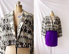 Vintage 1980s  Crop Blazer  Black and White  by PomegranateVintage, $40.00