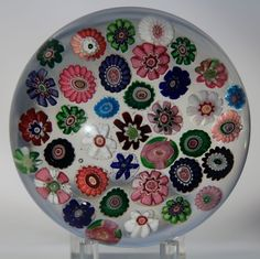 Gorgeous CLICHY Millefiori 37 CANES w/ Double CLICHY ROSES Art Glass PAPERWEIGHT #Clichy