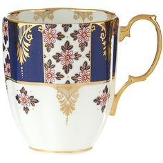 Royal Albert 100 Years 1900 Regency Blue Mug featuring polyvore, home, kitchen & dining, drinkware, cup, coffee mugs, blue mug, royal albert, coffee cups and floral mug