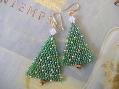 Beadwork Christmas Tree Earrings by WorkofHeart on Etsy, $18.00