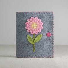 Wool Felt Needle Book / Needle Case  Pink & Yellow by TheBlueDaisy