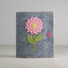 Wool Felt Needle Book / Needle Case  Pink & Yellow by TheBlueDaisy
