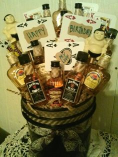 Man Bouquet I Made For My Husbands Birthday Small Liquor Bottles And Playing Cards Used As The Gift Tag