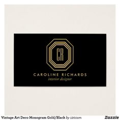 Art deco stylish lines gold black business card business vintage art deco monogram goldblack business card reheart Gallery