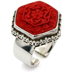 Sajen Cinnabar Ring, Red Floral Ring, 925 Sterling Silver, Hand Carved... ($88) ❤ liked on Polyvore featuring jewelry, rings, bohemian rings, sterling silver heart ring, cocktail rings, vintage rings and vintage cocktail rings