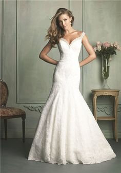 Sweetheart neckline lace gown with beaded and crystal adorned straps // 9111 from Allure Bridals