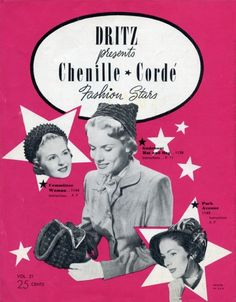 Spot Light Hat and Bag  1950 Vintage Chenille