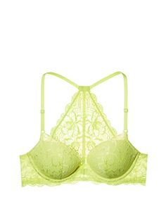 d5657aa431c Victorias Secret Pink The Date Lace Racerback PushUp Bra Neon Yellow 36D --  BEST VALUE