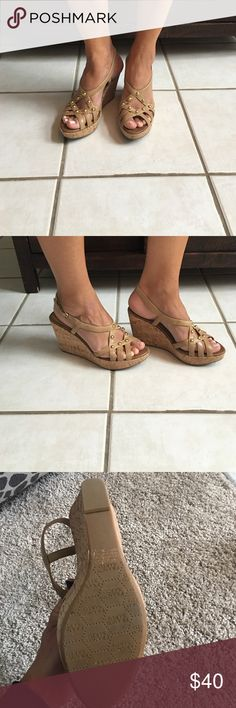 """7.5 Franco Sarto tan leather wedge sandals 7.5 Franco Sarto tan leather platform sandals with cute cork wedge, rubber sole, and gold grommet studs to give it some fun interest.   4"""" heel, comfortable, excellent condition. Franco Sarto Shoes Sandals"""