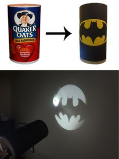 Oatmeal Tub Bat Signal for your super hero pretend time! My batman would LOVE this. Batman Party, Batman Birthday, Superhero Party, Superhero Halloween, Crafts To Do, Crafts For Kids, Arts And Crafts, Hero Central Vbs, Teen Programs