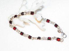 Pretty Sterling Silver Garnet Braelet Old Vintage Bracelet