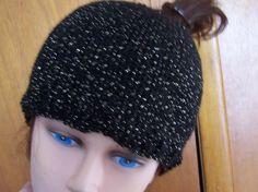 Ponytail Beanie Messy Bun Hat Hand Knit Black & Sparkly Gold New Premade Ready to Ship! by NovaBlondie on Etsy