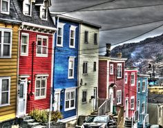 """""""Colourful houses in St. John's, Newfoundland"""" - from 28 Fun and Interesting Facts About St. John's, Newfoundland East Coast Travel, East Coast Road Trip, Newfoundland Canada, Newfoundland And Labrador, O Canada, Canada Travel, Canada Trip, East Coast Canada, Places To Travel"""