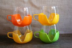 Set of 4 Tulip Vintage Retro Drinkups Style Glass Tea / Coffee / Ice Tea / Punch Cups Made in Holland  - Perfect for Entertaining and Drinks