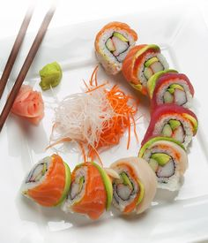 Sushi Rainbow Roll - minus the mayo , cream cheese and sauce...this is a healthy and fantastic lunch....chopsticks please!!!
