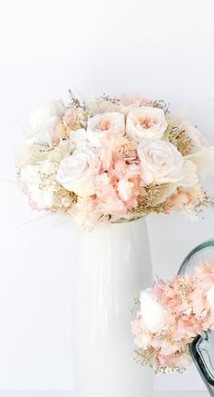 All preserved real flowers to last for years. Cotton candy pink hydrangea, blush white roses, pink and cream garden roses, angel leaves, rose gold gems, gold babies breath, and touch of soft gray lamb