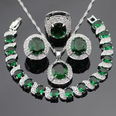 Green Created Emerald White CZ Silver Color Jewelry Sets Necklace Pendant Hoop Earrings Ring Bracelet For Women Free Gift Box