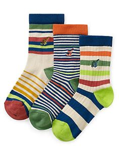 Multi 3 Pairs of Cotton Rich Striped Socks (1-7 Years)
