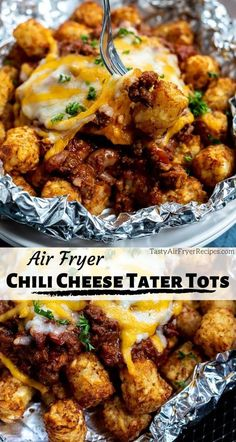 Cooking Chili Cheese Air Fryer Tater Tots couldn't get easier. Crisp air fried tater tots topped with chili and melty cheese makes a great snack or game day recipe. Air Fryer Recipes Wings, New Air Fryer Recipes, Air Fryer Dinner Recipes, Air Fry Recipes, Appetizer Recipes, Cooking Recipes, Cooking Chili, Appetizer Party, Appetizers