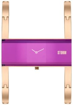 Storm Akiko Ladies Rose Gold Bangle Purple Dial Watch:  Storm's unique design watch with an ultra slim coloured dual bangle cum links bracelet which is easy to adjust links. The watch has an elevated glass design that is 50 metres water resistant.