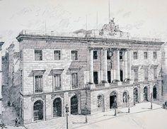 La Casa de la Ciutat Nova façana neoclàssica de la Casa de la Ciutat deguda al mestre d'obres municipal Josep Mas i Vila. Enllestida el 1844, aquell mateix any el Govern municipal de Barcelona va fer un gir moderat que va durar tota una dècada, durant la qual es va configurar la tendència centralista del nou Estat liberal espanyol.