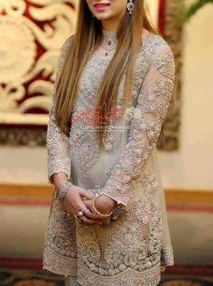 Wedding party dress with dabka pearls nagh cutwok with multi threds Model # P 217 Bridal Mehndi Dresses, Nikkah Dress, Pakistani Wedding Dresses, Pakistani Outfits, Wedding Party Dresses, Pakistani Couture, Wedding Hijab, Wedding Wear, Indian Dresses
