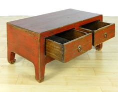 ANTIQUE RED LOW TABLE Altar Stand Display Cabinet 29.5 in Antiques, Asian Antiques, China