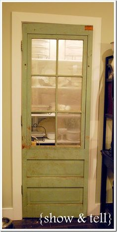 Old screen door for a pantry door -- looks just like our old screen door, even the color. I want to do something like this in our house. Painted Pantry Doors, Glass Pantry Door, Glass Door, Old Screen Doors, Old Doors, Kitchen Decor, Kitchen Ideas, Kitchen Pantry, Kitchen Stuff