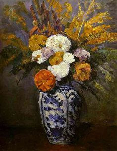 Dahlias Poster Print by Paul Cezanne Floral Art Flower Still Life Modern Traditional Arrangements Dahlia Post Impressionist by Era Century Other Art Floral, Cezanne Art, Paul Cezanne Paintings, Oil Paintings, Art Africain, Still Life Art, Oil Painting Reproductions, French Artists, Botanical Art