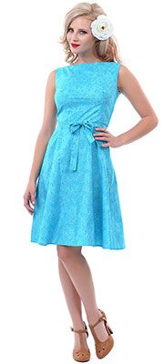 SALE! 1950s Style Angelica Turquoise Monique Swing Dress