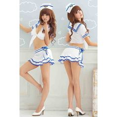 White Hot Sexy Sailor Costume ($24) ❤ liked on Polyvore featuring costumes, white, sailor halloween costume, white halloween costumes, white sailor costume, sexy halloween costumes and white costume
