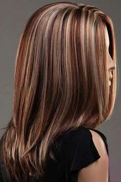 CoolMedium Length Gold And Brown Secondary Colors Natural Straight center part With Blonde Highlights Hair Style Women Wig Fall Hair Colors, Cool Hair Color, Brown Hair Colors, Hair Colour, Medium Hair Styles, Natural Hair Styles, Short Hair Styles, Wig Hairstyles, Straight Hairstyles