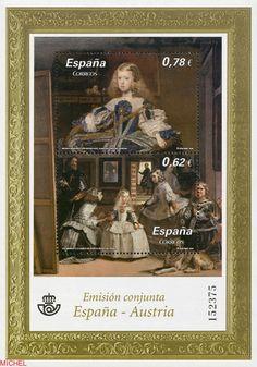 Sello: Princess Margarita Teresa and the Maids of Honour (España) (Emisiones conjuntas) Mi:ES 4519 Prado, Austria, Infanta Margarita, Madrid, Postage Stamp Art, Balearic Islands, My Stamp, Close Image, Maid Of Honor