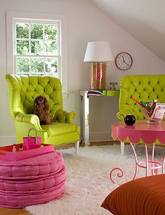 Green And Pink Living Rooms Pretty