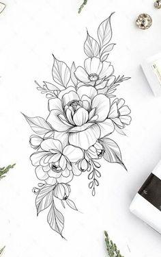 Mini Tattoos, Rose Tattoos, Body Art Tattoos, Small Tattoos, Sleeve Tattoos, Flower Tattoo Drawings, Tattoo Sketches, Mandala Flower Tattoos, Tattoo Flowers