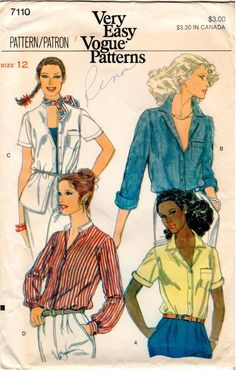 f0aba92e6e1 Vintage UNCUT Very Easy Vogue Pattern 7110 - Misses Loose-Fitting Shirts -  Size 12