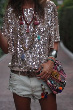 sequin, boho bag layered necklace goodness
