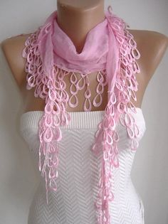 Pink and Elegance Shawl with Lace Edge by womann on Etsy, $13.90