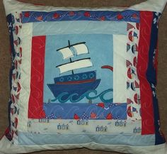 nautical log cabin cushion