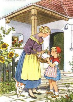 Little Red Riding Hood Felicitas Kuhn-Klapschy Austrian) Fairy Tale Crafts, Red Ridding Hood, Grimm Fairy Tales, Fairytale Art, Red Hood, Children's Book Illustration, Food Illustrations, Little Red, Cool Artwork