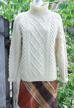 Cable Knit Fishermans Sweater Irish Keltic Aran Honeycomb Turtleneck Ivory M 6 8 #KelticKnit #TurtleneckMock