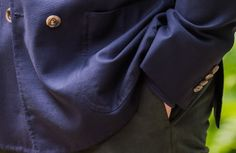 A closer view of the overall-view of the doublebreasted hopsack blazer.