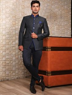 Black textured pattern jodhpuri suit Tuxedo Coat, Buy Suits, Off Black, Black Party, Jodhpur, Men Online, Blazers For Men, Wearing Black, Mens Suits