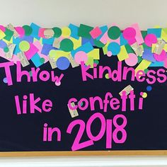 When this is your view out of your classroom.you can't help but smile! And secretly wish you had some confetti to throw! Classroom Bulletin Boards, Classroom Door, Classroom Management, Confetti, School Ideas, Scrapbook, Decorations, Smile, Dekoration