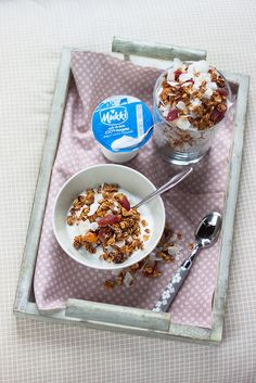 Home made granola with yogurt